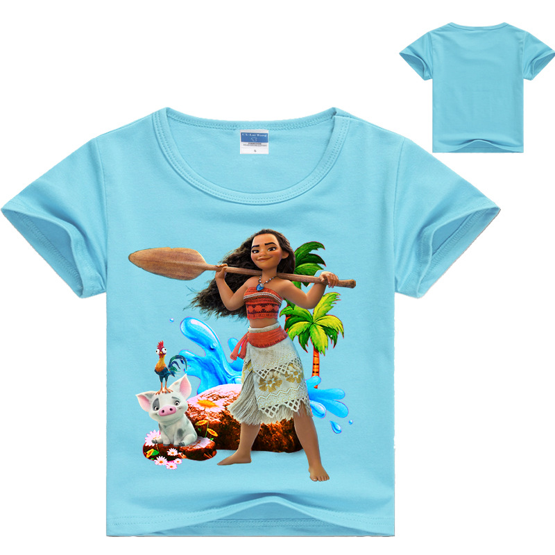 Princess T-Shirt Tees Moana-Costume Girls Tops Clothing Cotton Children for Filles Casual