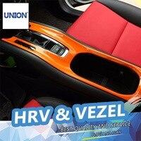 UNION Car styling Auto shift lever gear panel Stick Covers Decoration trim For HRV HR V Vezel 2014 2016 gear panel cover trim