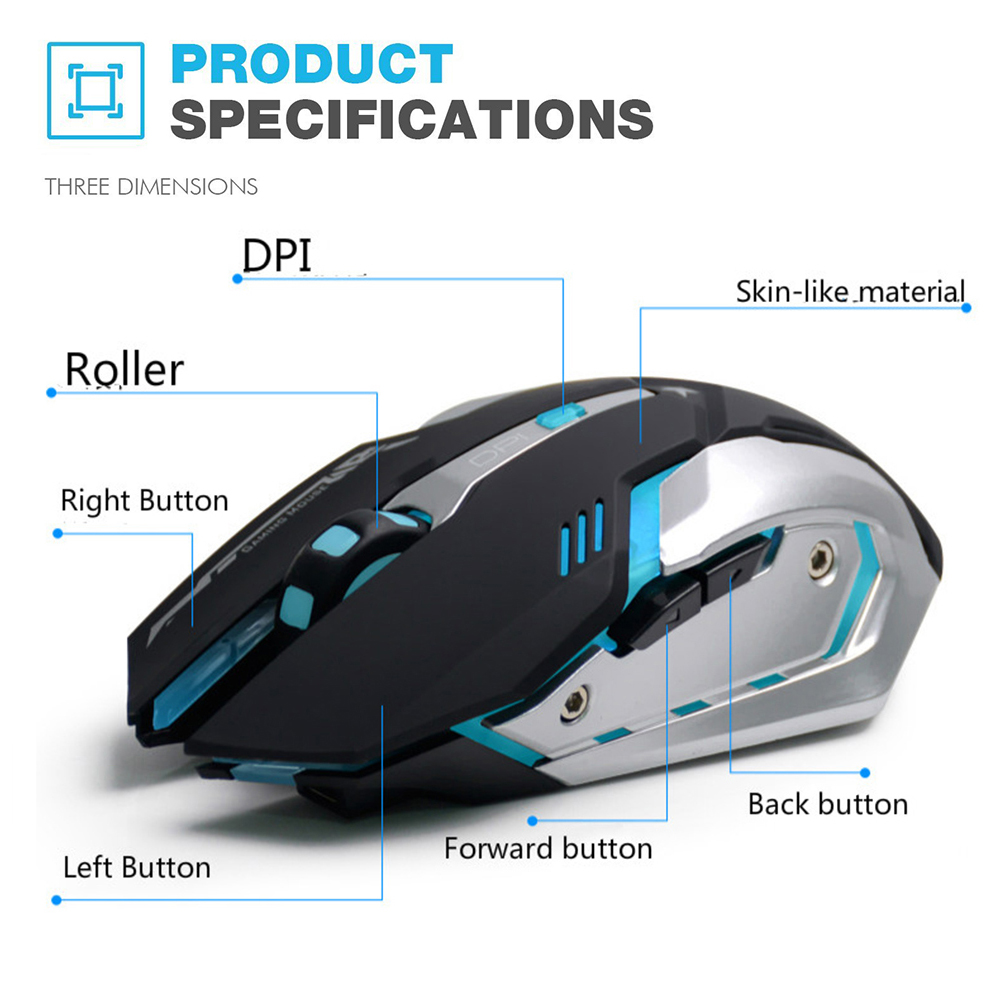 AZZOR Rechargeable Wireless Gaming Mouse 7-color Backlight 3