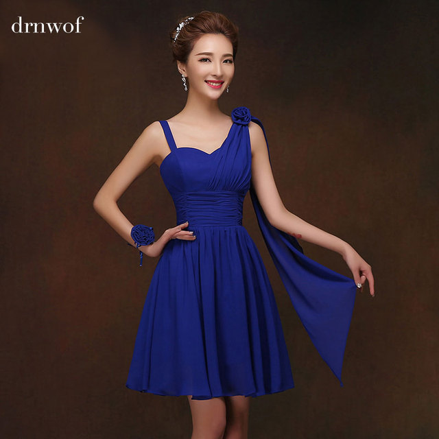 Short Sweetheart Chiffon Junior Bridesmaid Dresses with Ribbons A-Line  Sleevelss Off Shoulder Summer Dress Red Royal Blue Pink a94b5660d504