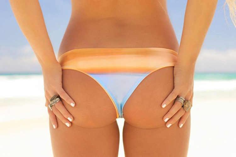 Şerit baskı seksi brezilyalı bikini alt kadınlar mayo kadın yüzme mayo kadınlar için külot külot iç çamaşırı