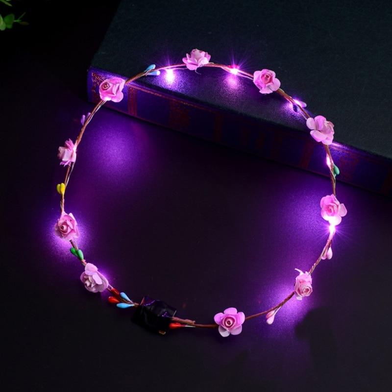 Women Girls LED Light Up Flower Headband Flashing Glow Crown Party Hair Wreath  Hairband Luminous Garlands