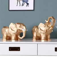 1 Pair Home Creative Geometry Elephant Resin Wine Racks Creative Resin Elegant Elephant Manual Home Decorations Ornaments