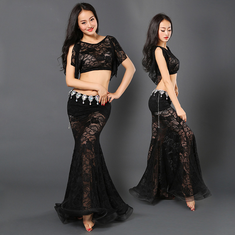Newest Short Sleeve Long Lace Sexy Belly dance fish tail Skirt 2pcs set for women/female/Lady, costume performance wear zm044