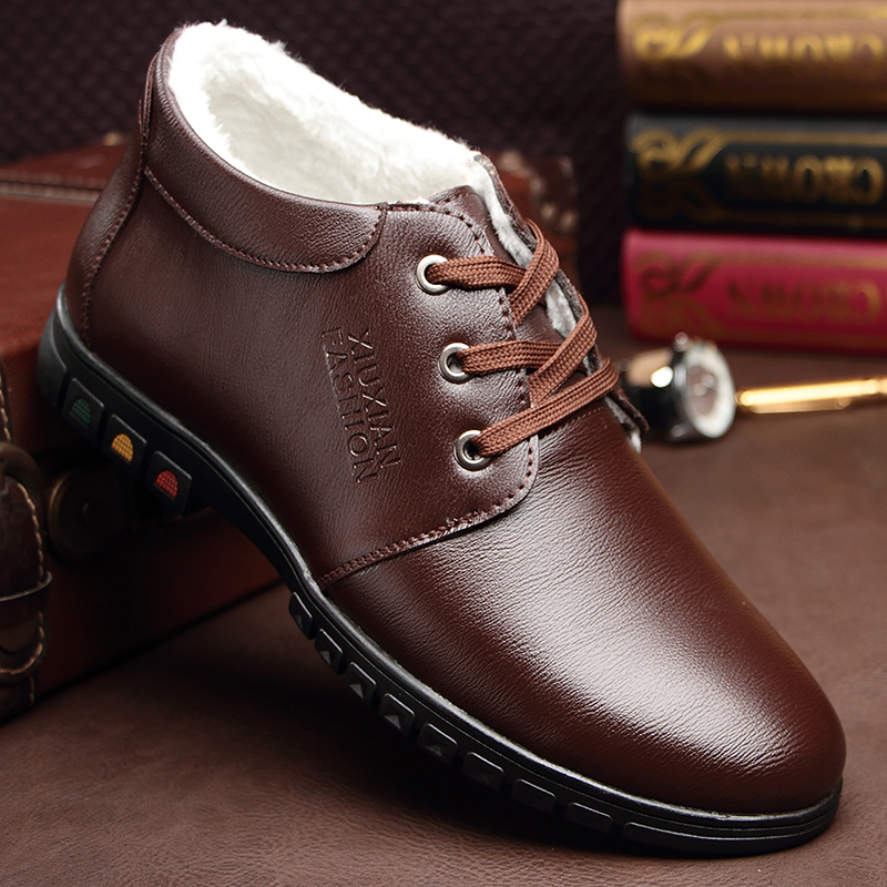 2017 Brand Real Leather Mens Winter Snow Boots Warm Casual Shoes Men Loafers Flats Shoes Genuine Leather Male Shoes High Quality