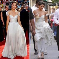 2015 Gossip Girl Vanessa Celebrity Dresses A Line V Neck Cap Sleeves Chiffon Pearls White Backless