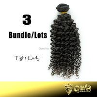 Free Shipping 12''~28'' Tight Curly 3Bundle/Lots QWB Top Grade Cuticle Aligned Virgin Hair No Corn Chip Smell