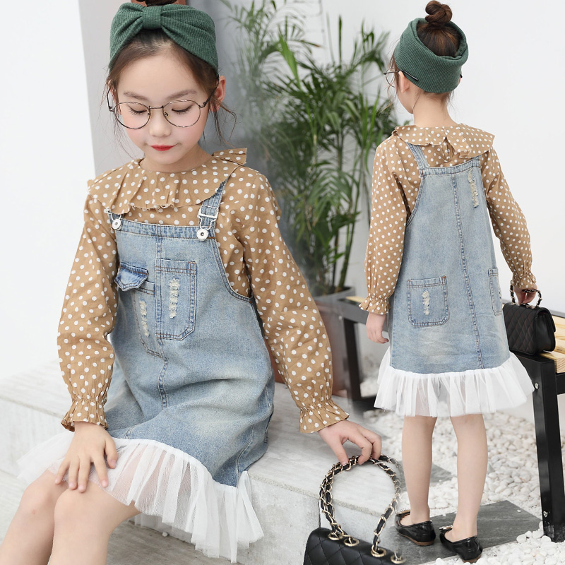 Girls Clothes Sets 2018 New Cotton Spring Casual Dot Shirts Blouses + Denim Dress 2 Pcs Girls Suits Children Clothing Sets 10 12 children clothing sets spring cotton girls clothing sets fashion high quality denim coat page 3