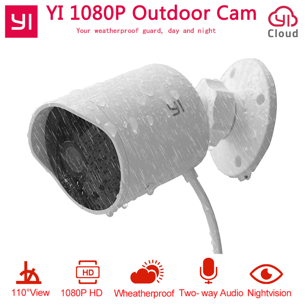 YI Outdoor Security Camera 1080P HD Two way Audio IP Waterproof Cloud Cam Wireless Night Vision Security Surveillance System-in Surveillance Cameras from Security & Protection