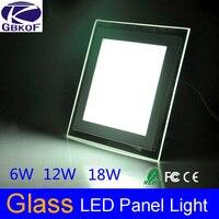 Современный дизайн со стеклянной крышкой 6 Вт 12 Вт 18 Вт  Встраиваемый светодиодный потолочный Светильник направленного света  квадратная па...