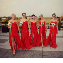 2016 Elegant Chiffon A-Line Red Bridesmaid Dresses Beach Sweetheart Split Front Long Off The Shoulder Party Dress Vestido Longo