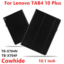 Case Cowhide For Lenovo Tab 4 10 Plus Smart cover Genuine Leather Protective Tab4 10plus TB-X704 N Tablet Cases Protector Sleeve