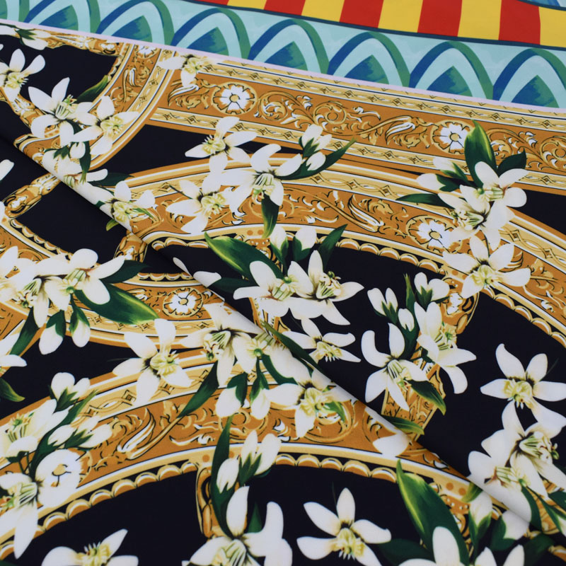 Jasmin moulins à vent sicile vacances vent numérique peinture stretch satin tissu pour robe d'été telas tissu tecido shabby chic bricolage