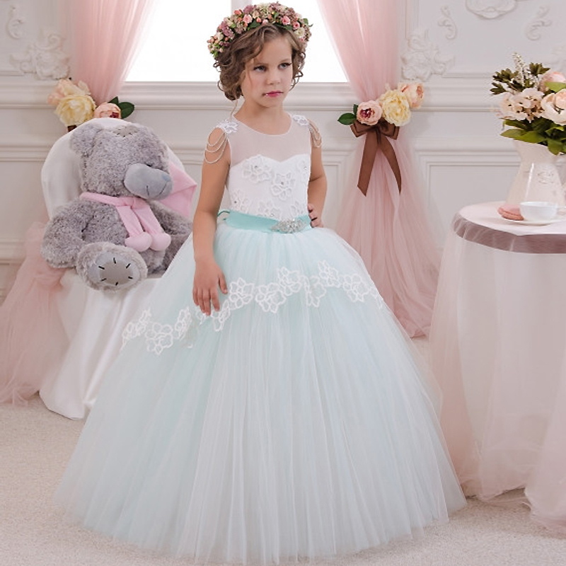 Elegant First Communion Dress Lace Sleeveless Ruffles Beading Mint Little Flower Girl Dress Infant Tulle Ball Gowns 12 Year 2017 gorgeous lace beading sequins sleeveless flower girl dress champagne lace up keyhole back kids tulle pageant ball gowns for prom