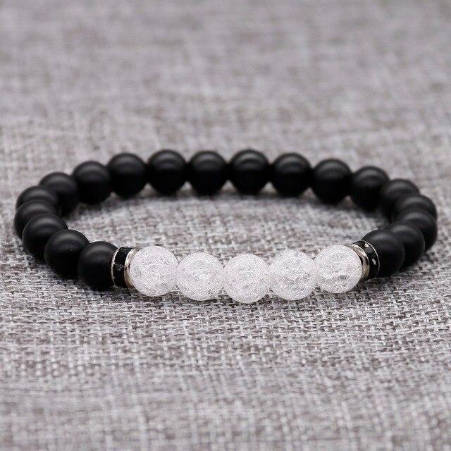 Fashion 8mm Black Matte Beads With White Ed Crystal Bracelet For Womens Men Yoga Lover Rhinestone