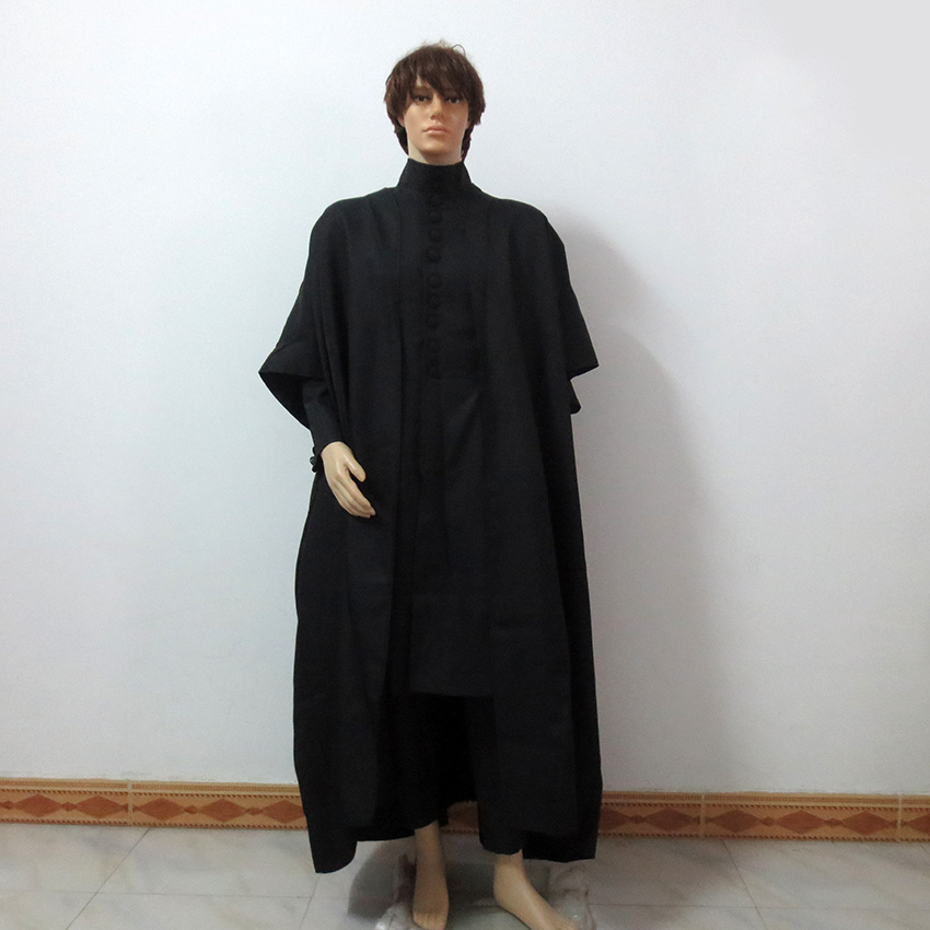 Hogwarts School Professor Severus Snape Christmas Party Halloween Uniform Outfit Cosplay Costume Customize Any Size