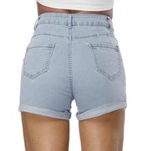 Fashion Women Summer mid Waisted short jeans feminino biker shorts zipper fly Casual button straight skinny cotton blend Denim