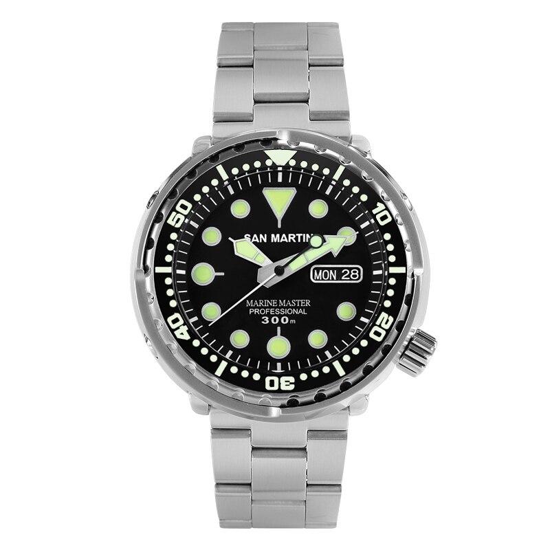 San Martin Atum SBBN015 Homens Da Moda Relógio Automático Relógio de Mergulho Relógio Do Esporte de Aço Stainlss 300m Resistente À Água de Cerâmica bezel