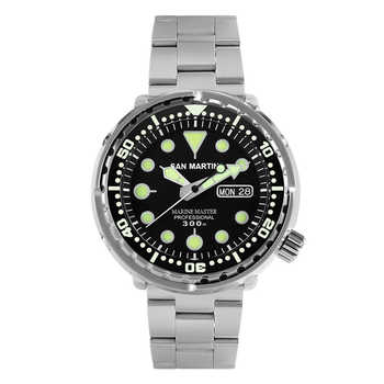 San Martin Tuna SBBN015 Men Fashion Watch Automatic Diving Sport Watch Stainlss Steel Watch 300m Water Resistant Ceramic bezel - DISCOUNT ITEM  15% OFF Watches