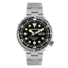 San Martin Tuna SBBN015 reloj de moda para hombres reloj deportivo de buceo automático reloj acero inoxidable 300m bisel de cerámica resistente al agua