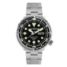 Мужские модные часы San Martin Tuna SBBN015, автоматические спортивные часы для дайвинга, стальные часы из нержавеющей стали, водонепроницаемость 300 м, керамический ободок