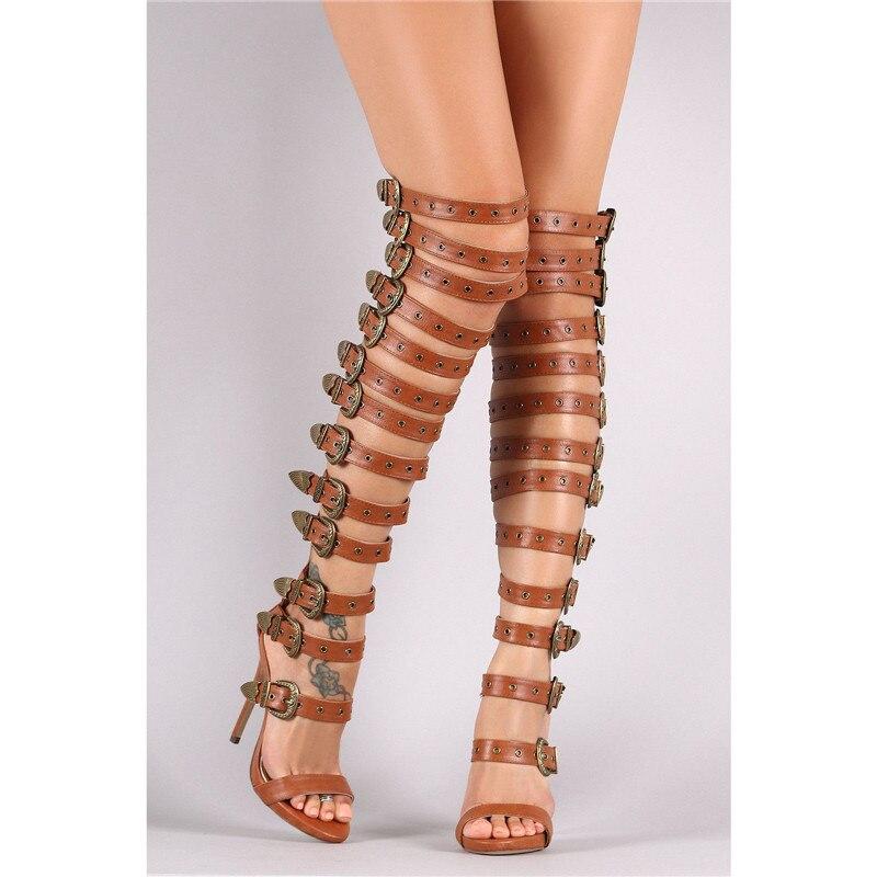 Alta Rodilla Abierto Gladiador black Sandalias Recortes Mujer Las Negro De Hebilla Del La Muslo Bronze Vintage Bronce Zapatos Mujeres Botas Pie Dedo Sobre CZqvcU4w