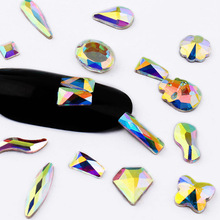 All Size 10Pcs Internet celebrities Crystal and AB Glass Stones DIY Nail Art Rhinestones Glue On No Hothix
