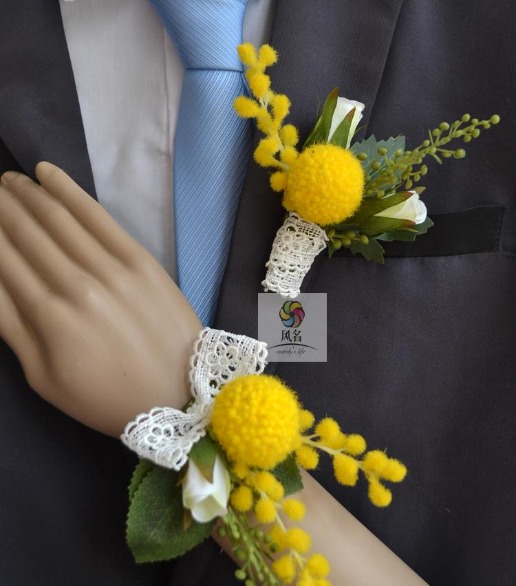 Home & Garden Wedding Corsages Groom Boutonniere Bride Bridesmaid Hand Wrist Flower Yellow Golden Fruit Artificial Flowers Wedding Supplies To Have Both The Quality Of Tenacity And Hardness Artificial & Dried Flowers