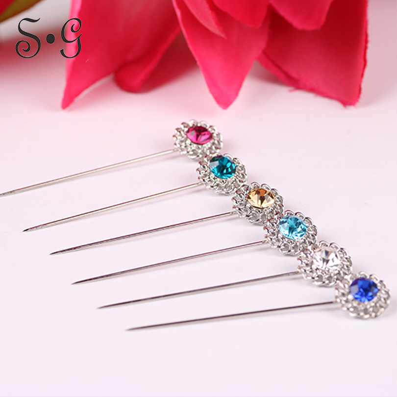Wholesale 12pcs/pack round flower crystal Women Safety Scarf Pin New Hijab Pins Rhinestone Muslim Hijab Brooches women brooch