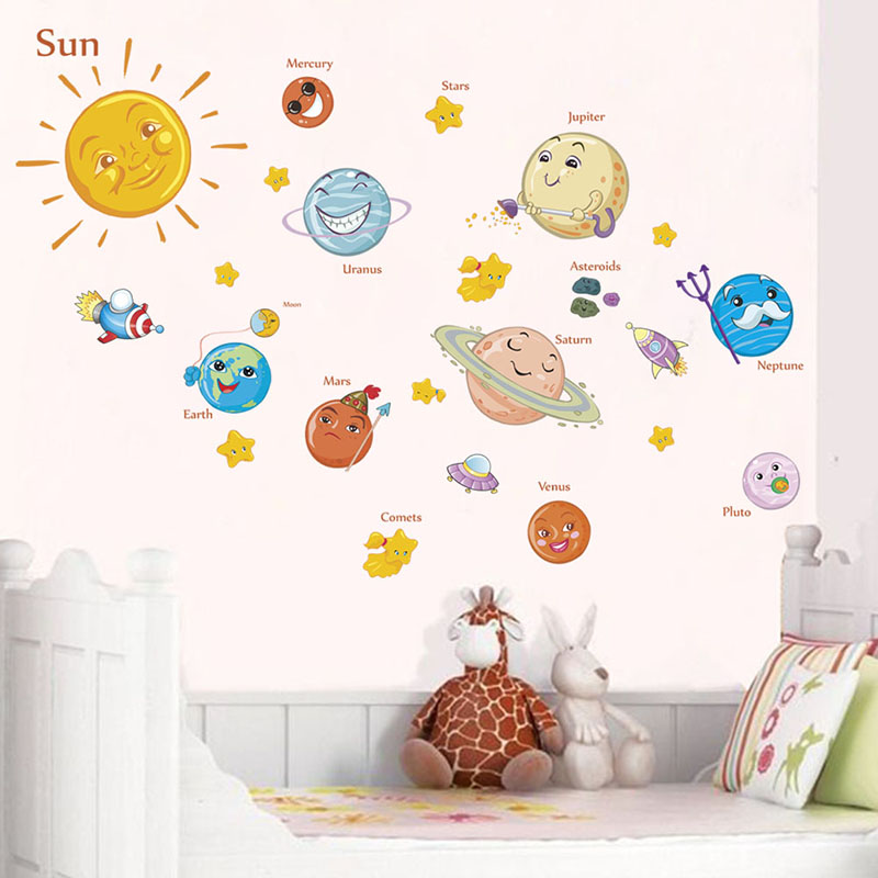 Lovely Solar System Wall Stickers For Nursery Kids Rooms Decorations Outer Space Planets Home Decor Mural Wall DIY Art Decals