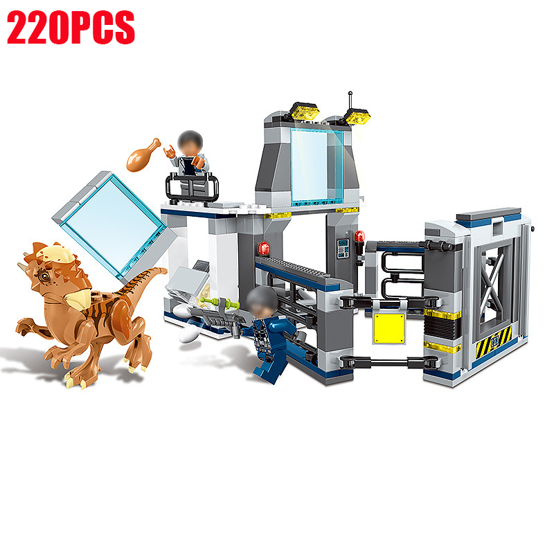 Compatible Legoings 220Pcs Jurassic World 2 Park Stygimoloch Breakout 75927 Dinosaur Set Building Blocks Bricks Toy For Kids