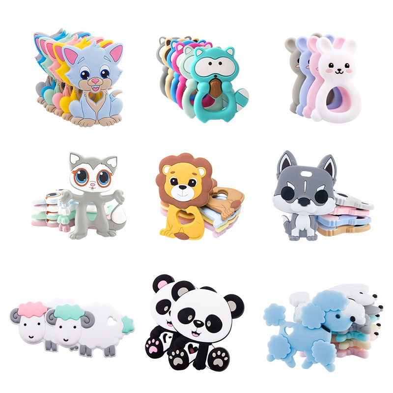 Baby Teether Food Grade Silicone Rodent Lion Shape Diy Pacifier Chain Bpa Free Teething Toy For Teeth Christmas Silicone Teether