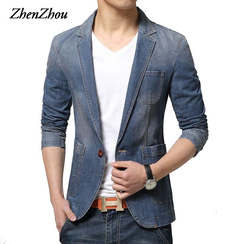 ZhenZhou 2017 Hiver Blazer pour hommes Unique Bouton Marque Denim Blazer Hommes M-XXL 3XL Jaqueta Masculina Slim Fit Blazer Costume Masculin