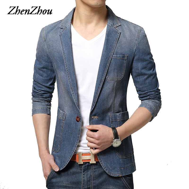 ZhenZhou 2017 hiver hommes Blazer simple bouton marque Denim Blazer hommes M-XXL 3XL Jaqueta Masculina Slim Fit Blazer costume masculin