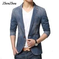 ZhenZhou 2019 Winter Mens Blazer Single Button Brand Denim Blazer Men M XXL 3XL Jaqueta Masculina Slim Fit Blazer Male Suit