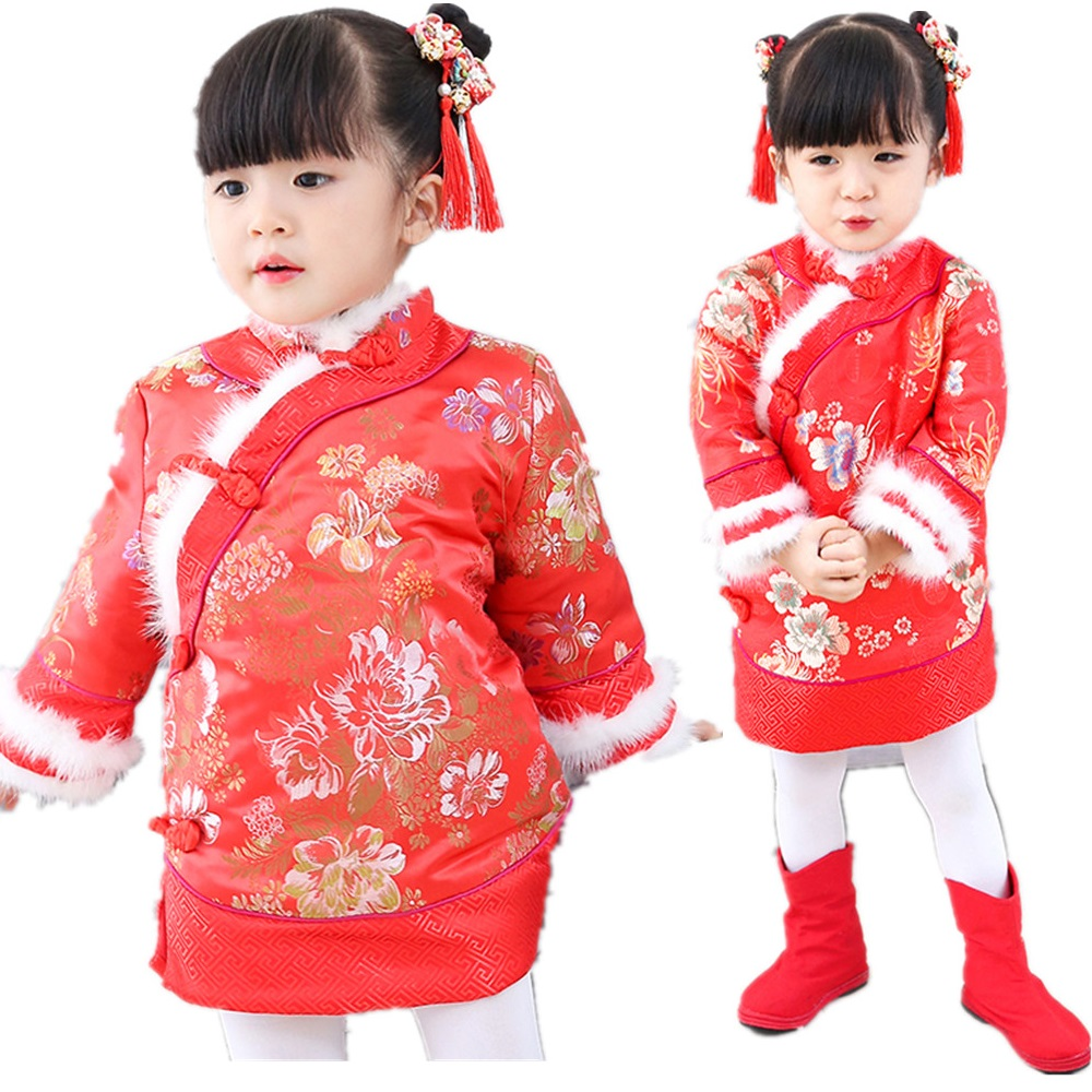 Red Floral Baby Girls Dress Quilted Down Jacket Chinese Traditional Qipao Dresses Children Cheongsam Girl Coat Outerwear Tops