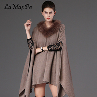 LaMaxPa Winter Women Thick Poncho Scarf Shawl Fashion Plus Size Loose Batwing Sweater Femme Fausse Fourrure Manteau Mujer Chal