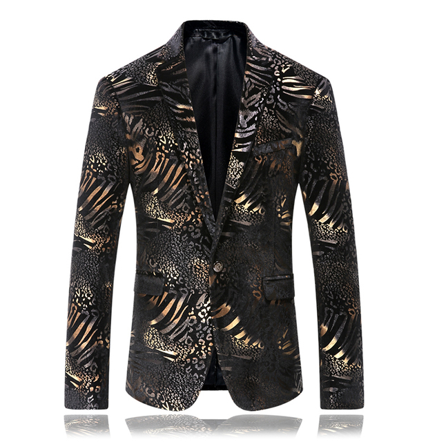 Plus size Men's Fashion gold decorative Pattern blazers  jacket prom wedding party dress singer dancer stars performance wear