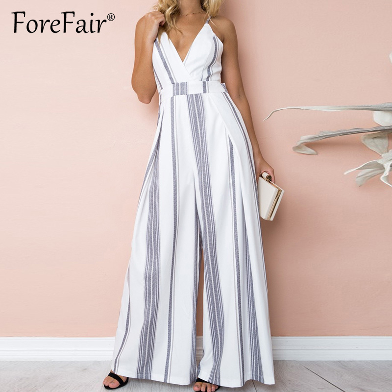 Forefair 2018 Striped Leaf Print Boot Cut   Jumpsuit   Rompers Women Sexy Backless Bow V Neck High Waist Summer Beach   Jumpsuit