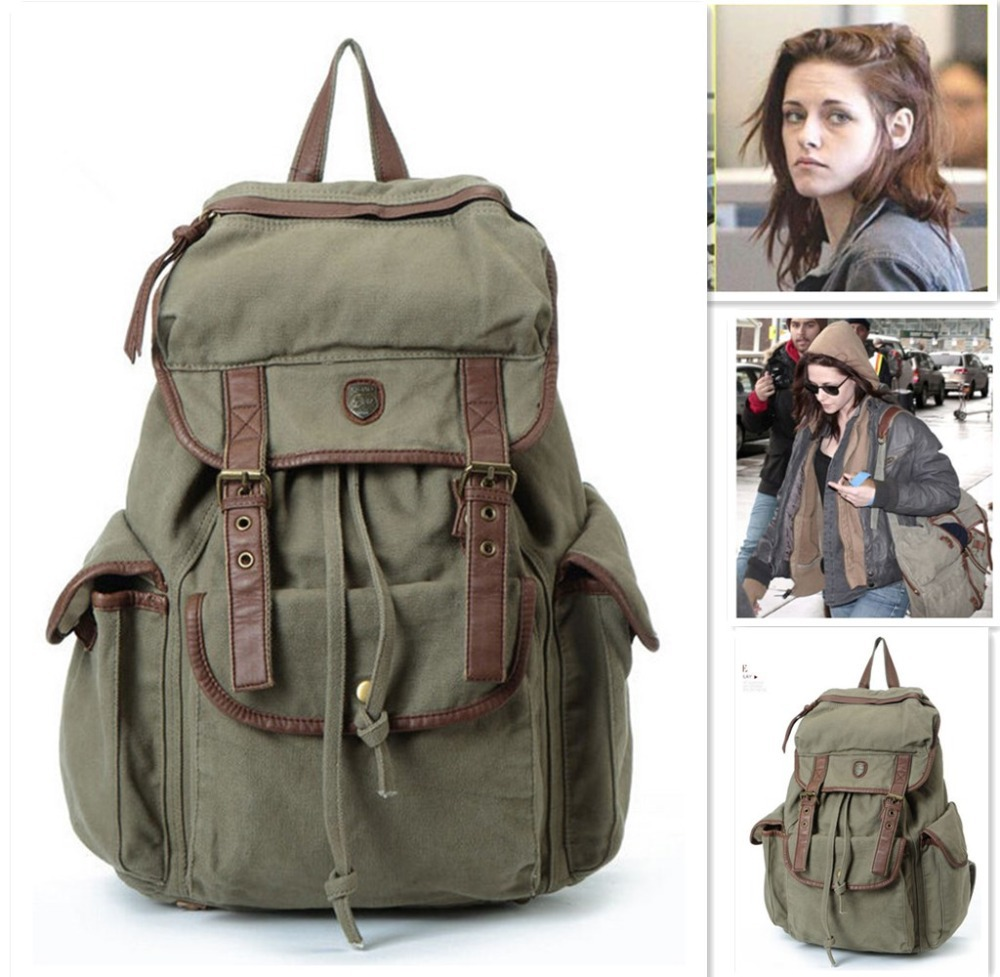 New Vintage Backpack Women canvas Shoulder Bag kristen stewart Men Backpack Multi-Color Leisure Travel Bags Unisex Backpacks new vintage backpack canvas men shoulder bags leisure travel school bag unisex laptop backpacks men backpack mochilas armygreen