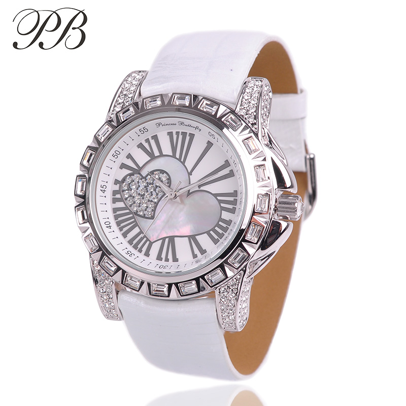 Girl Watch PB Brand Casual Sport Classic Roman Number Heart Love Picture Genuine Leather Strap Quartz-Watch foamposites HL532 casual layered heart wings watch