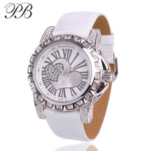 Girl Watch PB Brand Casual Sport Classic Roman Number Heart Love Picture Genuine Leather Strap Quartz-Watch foamposites HL532