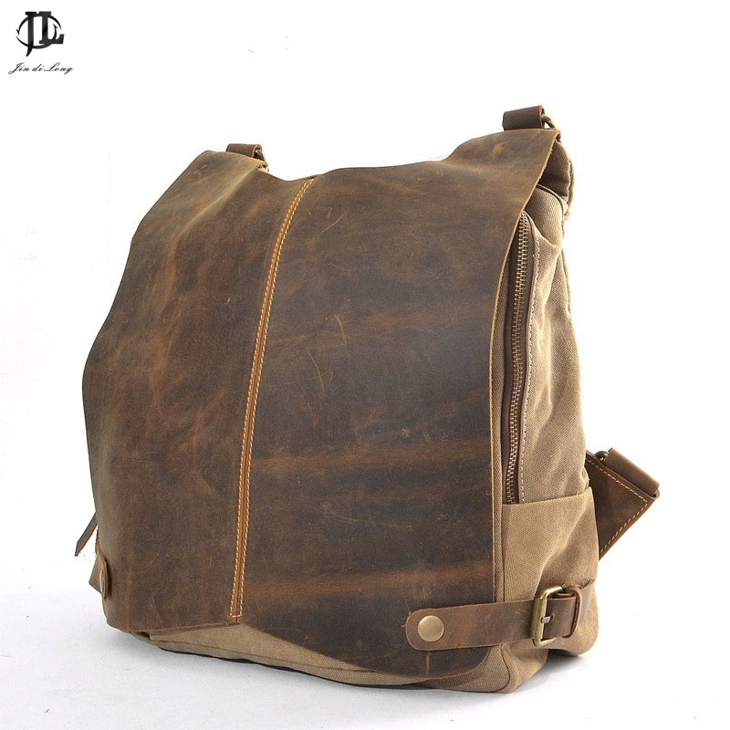 2019 Genuine Leather Canvas Joint Bag Men Retro Military Style Washed Color Teenager Youth Dailypack Laptop Rucksack Travel Bag