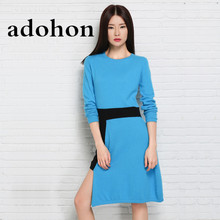 adohon 2018 womens winter Cashmere sweaters and auntmun women knitted Dresses High Quality Warm Female thickening Asymmetrical