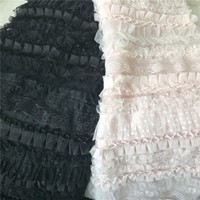Layered 3D Ruffle Mesh Lace Fabric With Polka Dot Print Bridal Gowns Pleated Lace Fabric Pink Black Color 1 Yard