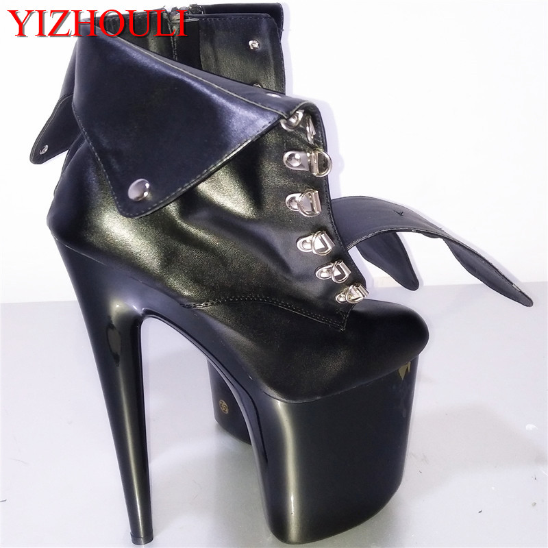 New super high heels in 2018, 17-18-20 cm tall, low-tube boots on belt buckle faux leather, banquet dancing shoesNew super high heels in 2018, 17-18-20 cm tall, low-tube boots on belt buckle faux leather, banquet dancing shoes