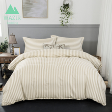 WAZIR Satin Stripe Edredon Simple Style Bedding Set 3pcs Duvet Cover Pillowcases Home Textile Bedroom Bedclothes & Living
