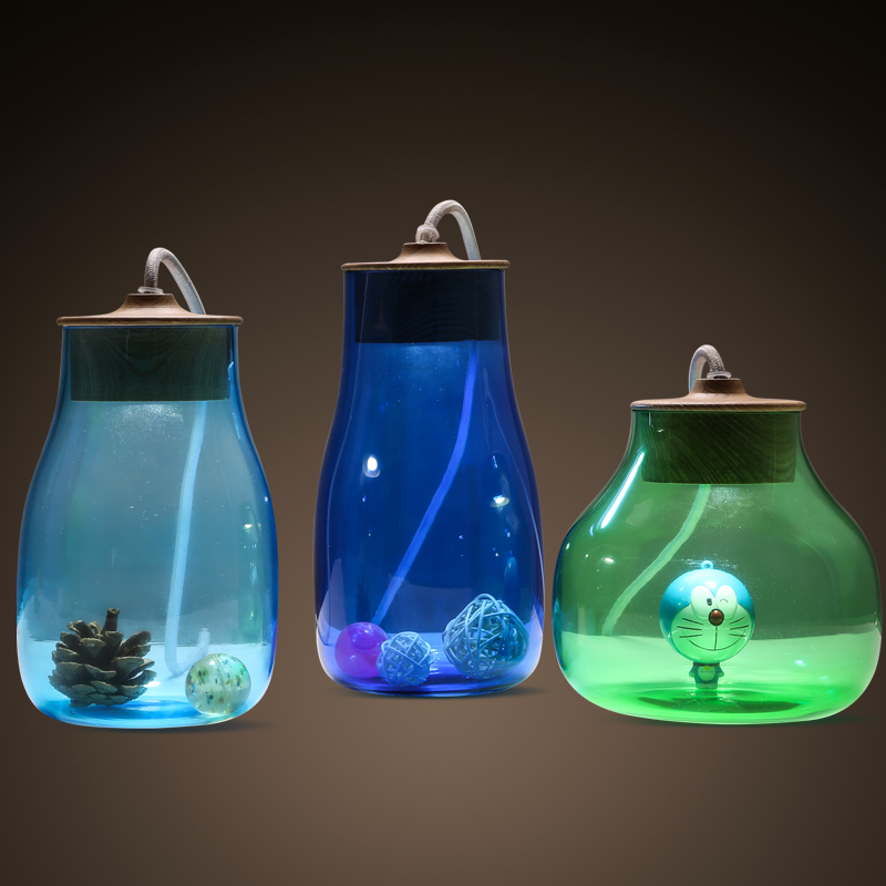 Creative Glass Jar Blue Light Green Table Lamp Kid Room Cartton