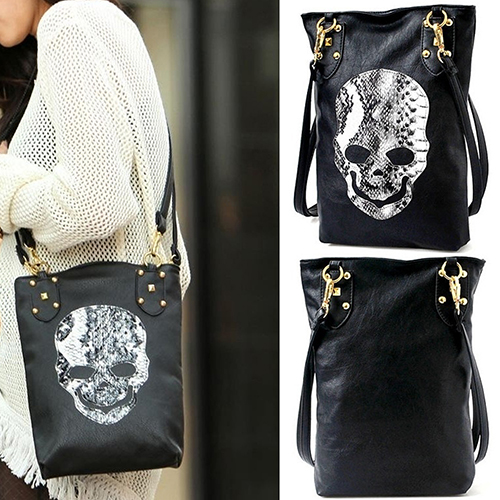 Women s Vintage Faux Leather Skull Messenger Handbag Shoulder Bag Totes Purse