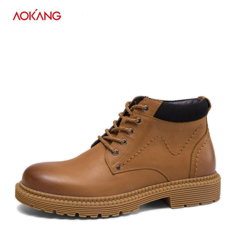 AOKANG 2018 Winter Boots Men Martin Genuine Leather Casual Men Shoes Ankle botas hombre Lace Up Motorcycle Boots High Quality z suo genuine leather men boots fashion men martin boots high quality ankle boots man winter shoes botas hombre zs16508
